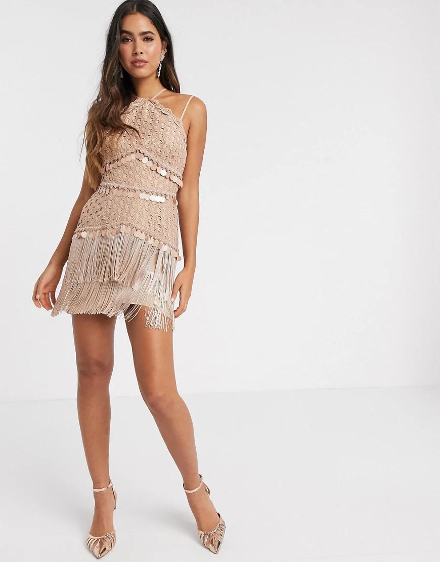 ASOS DESIGN | Светло-розовое платье мини с кружевом ASOS DЕSIGN-Розовый | Clouty