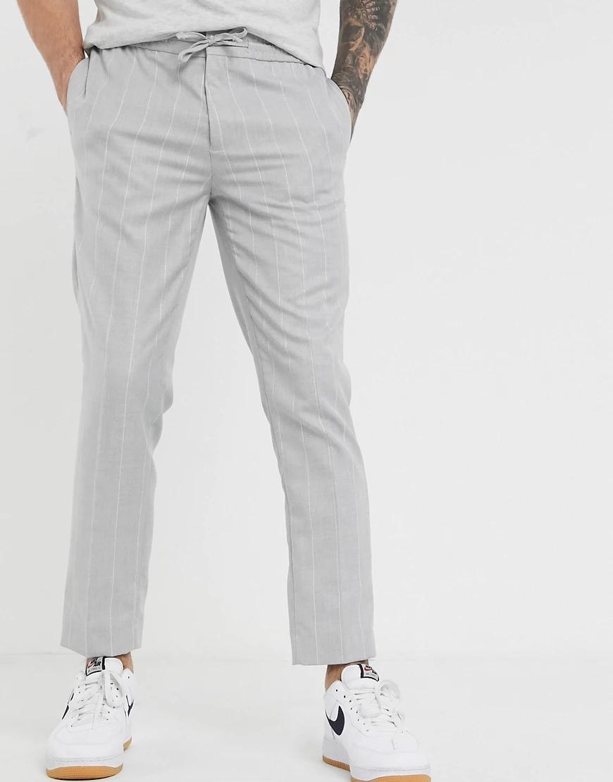 BURTON | Светло-серые узкие брюки в клетку Burton Menswear-Cepый | Clouty