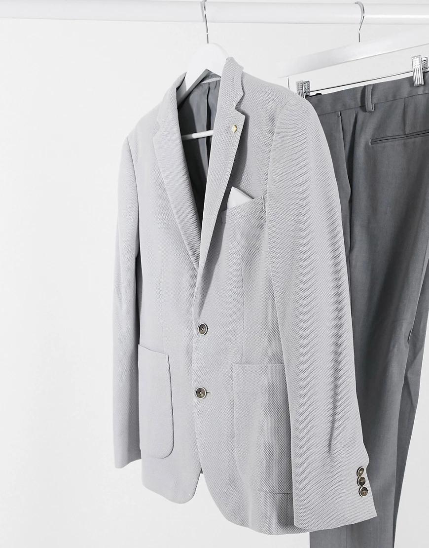 BURTON | Светло-серый пиджак из пике узкого кроя Burton Menswear | Clouty