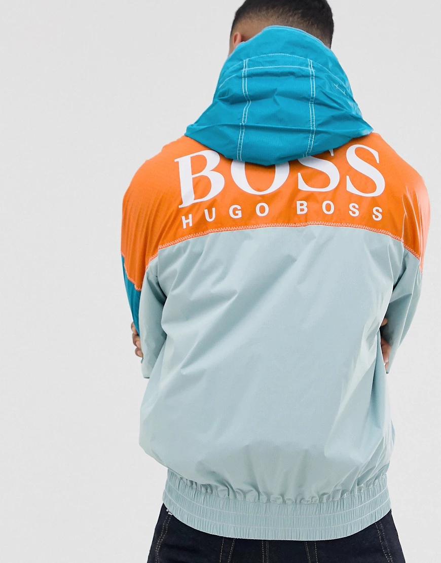BOSS   Светло-зеленая куртка из ткани рипстоп в стиле колор блок с логотипом BOSS Оrеttо-Зеленый   Clouty