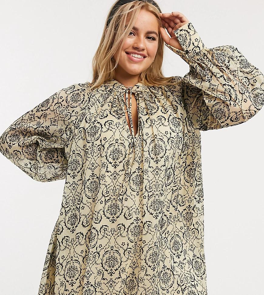 Skylar Rose Plus | Свободное бархатное платье с завязкой Skylar Rose Рlиs-Мульти | Clouty