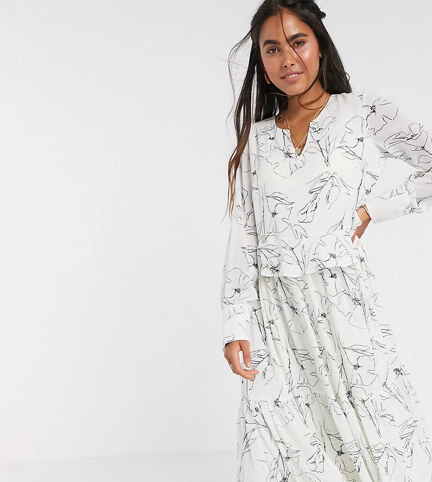 Y.A.S.   Свободное белое платье миди с абстрактным принтом Y.А.S-Мульти   Clouty