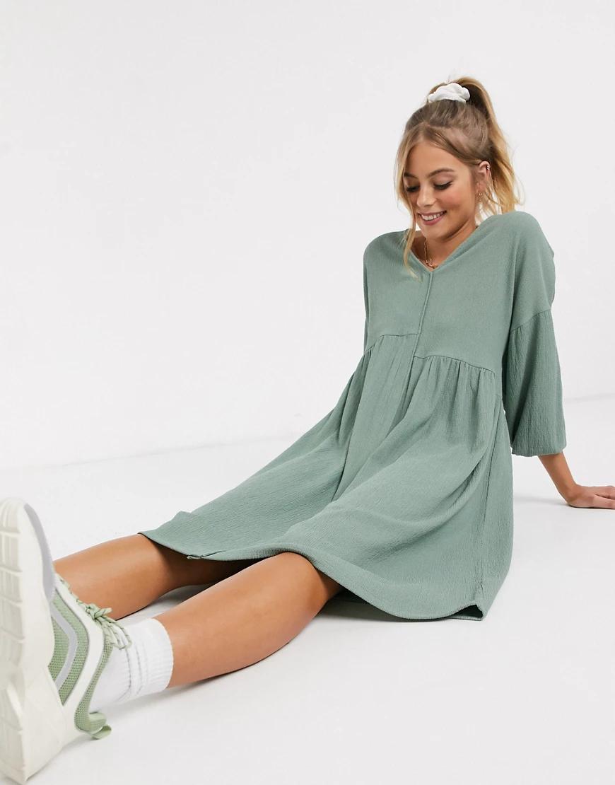 ASOS DESIGN   Свободное фактурное платье-рубашка миди шалфейно-зеленого цвета ASOS DЕSIGN-Зеленый   Clouty