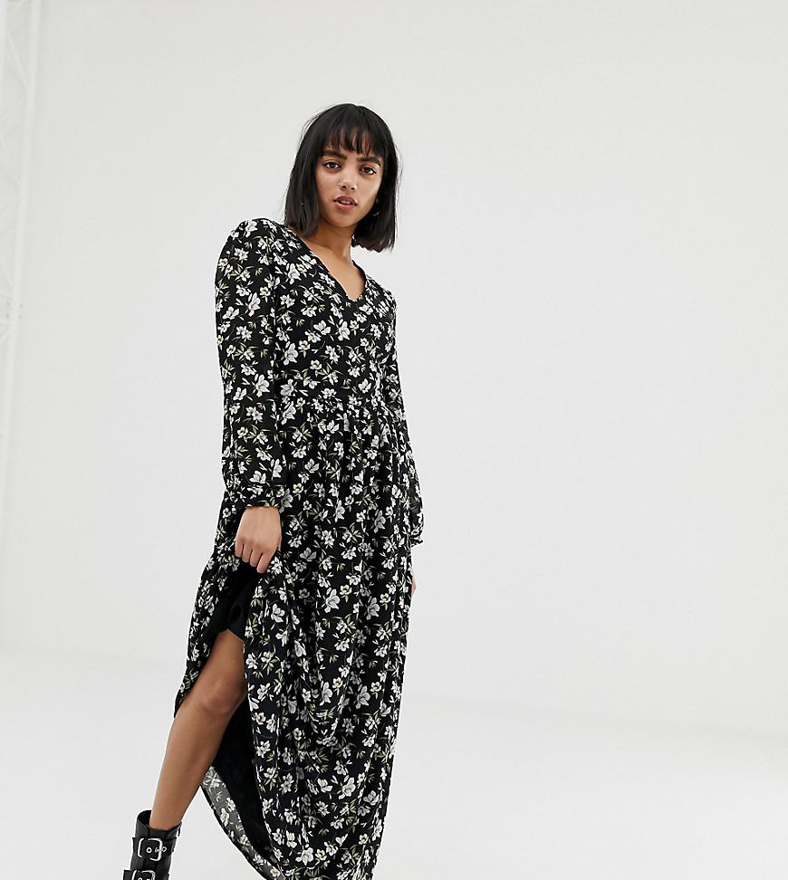 Glamorous | Свободное платье макси с цветочным принтом в стиле ретро Glamorous Petite-Черный | Clouty