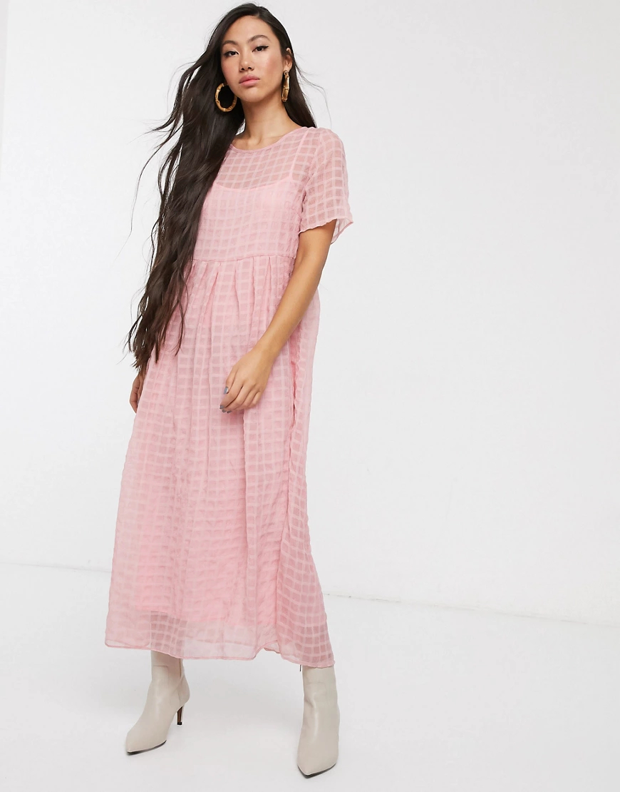 Glamorous | Свободное платье мидакси в клетку Glamorous-Poзoвый | Clouty
