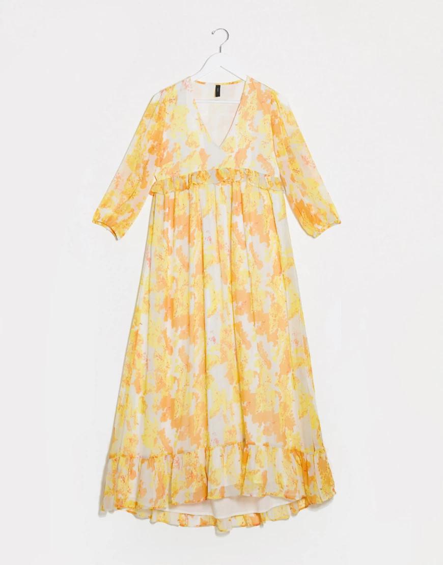 Y.A.S. | Свободное платье миди с оборками и цветочным принтом Y.А.S-Мульти | Clouty