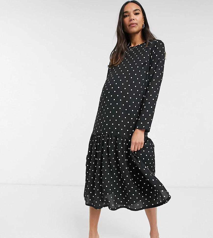 ASOS DESIGN   Свободное платье миди в горошек ASOS DESIGN Maternity-Myльтu   Clouty