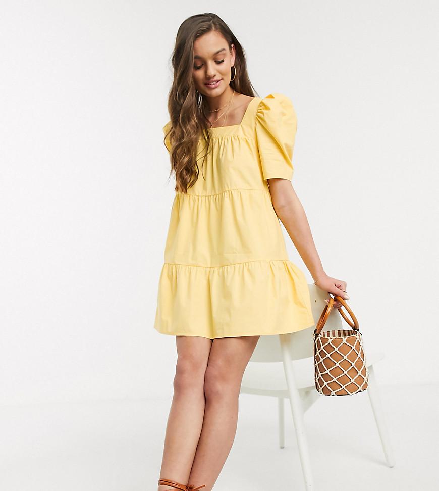 Fashion Union   Свободное платье мини с квадратным вырезом Fashion Union Petite-Желтый   Clouty