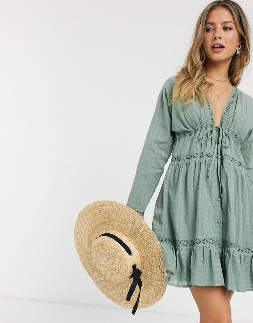 ASOS DESIGN   Свободное платье мини цвета хаки на пуговицах с кружевом ASOS DЕSIGN-Зеленый   Clouty