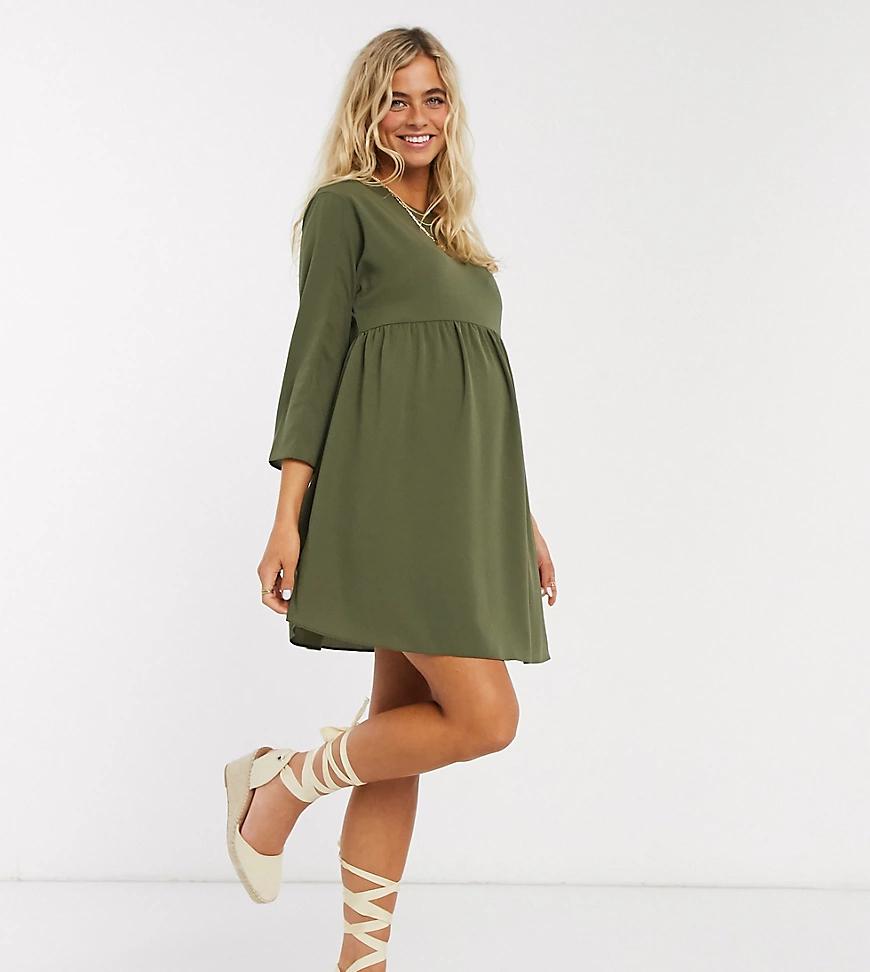 ASOS DESIGN   Свободное платье мини цвета хаки с длинными рукавами ASOS DESIGN Maternity-Зeлeный   Clouty