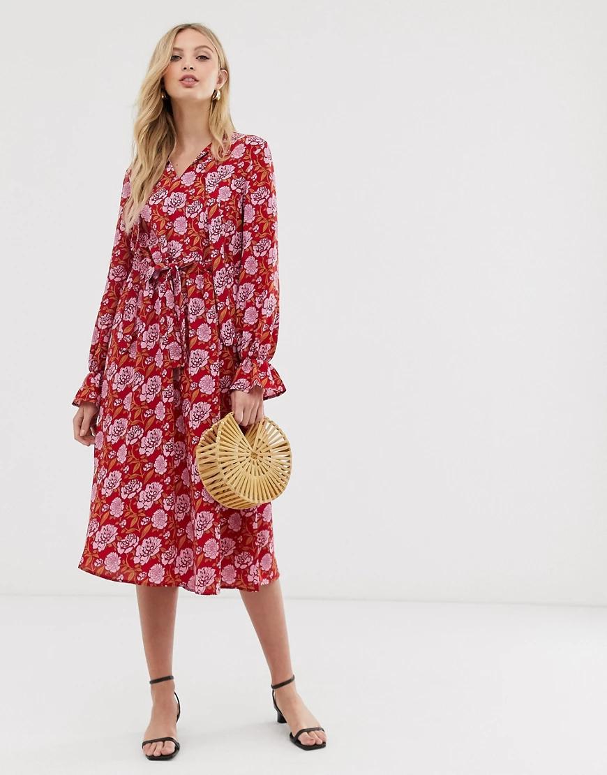 Y.A.S. | Свободное платье с длинными рукавами и цветочным принтом Y.А.S-Розовый | Clouty