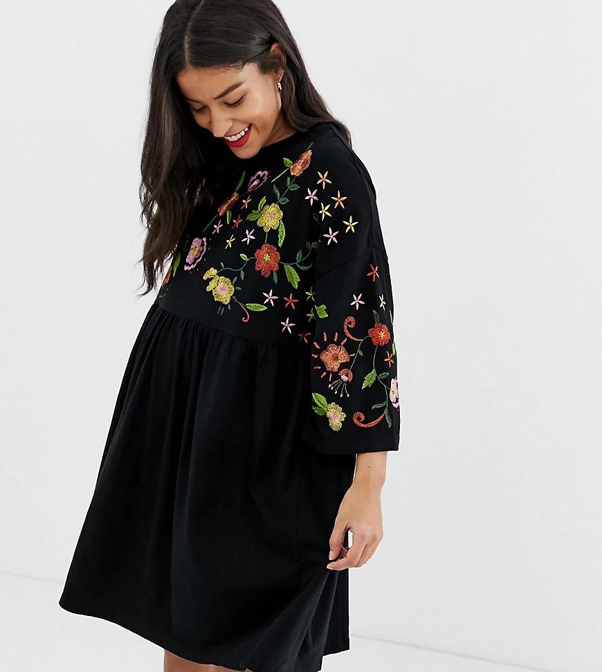 ASOS DESIGN | Свободное платье с вышивкой ASOS DESIGN Maternity-Чepный | Clouty