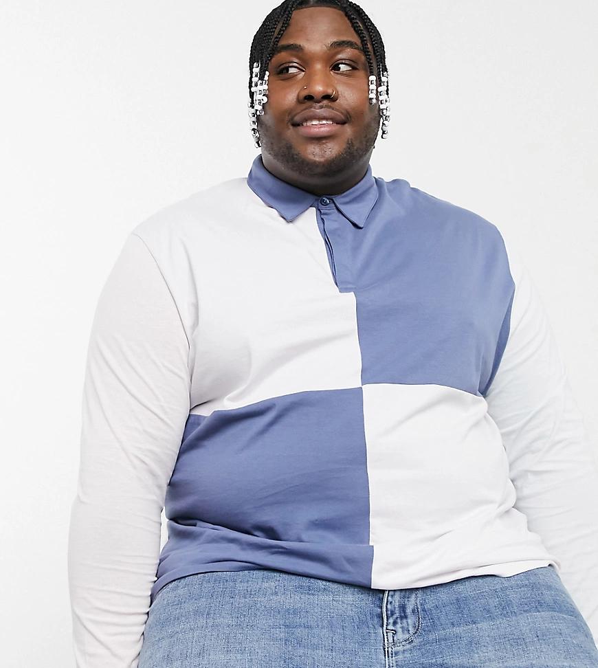 ASOS DESIGN | Свободная футболка-поло в стиле регби с длинными рукавами и вставками в стиле колор блок ASOS DESIGN Рlиs-Фиолетовый | Clouty