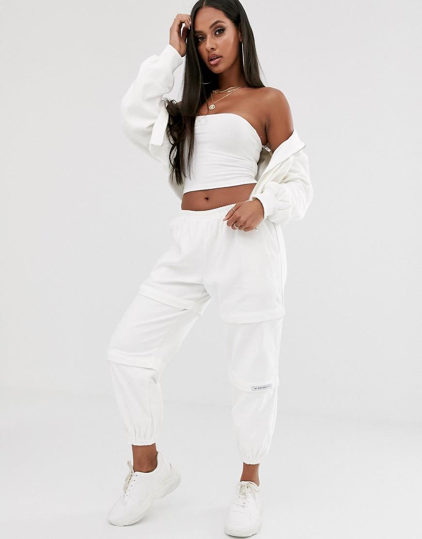 My Mum Made It | Свободные вельветовые брюки карго от комплекта с отстегиваемыми штанинами My Mum Made It-Белый | Clouty