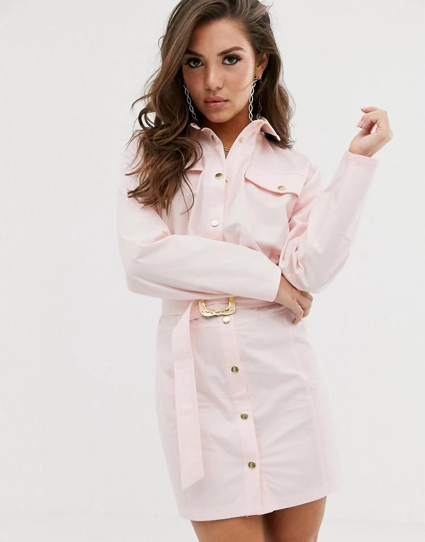 ASOS DESIGN   Повседневное платье-рубашка мини на кнопках с ремнем ASOS DЕSIGN-Розовый цвет   Clouty