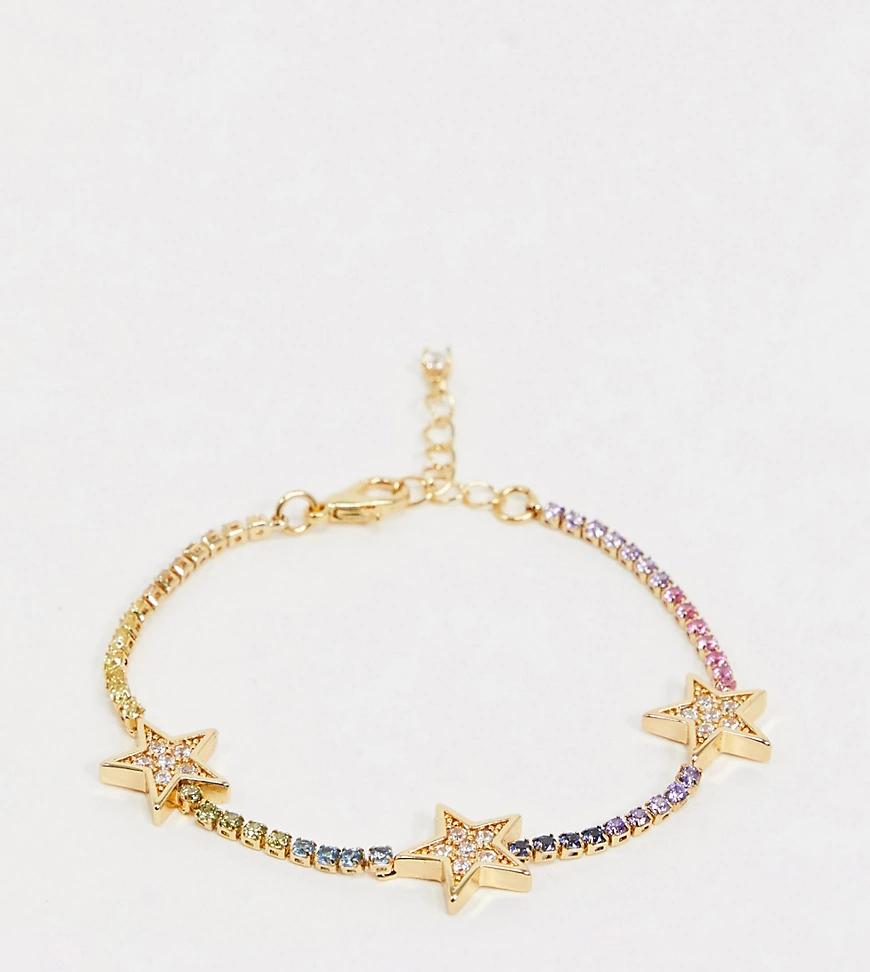 ASOS DESIGN | Позолоченный браслет с фианитами ASOS DЕSIGN-Золотой | Clouty
