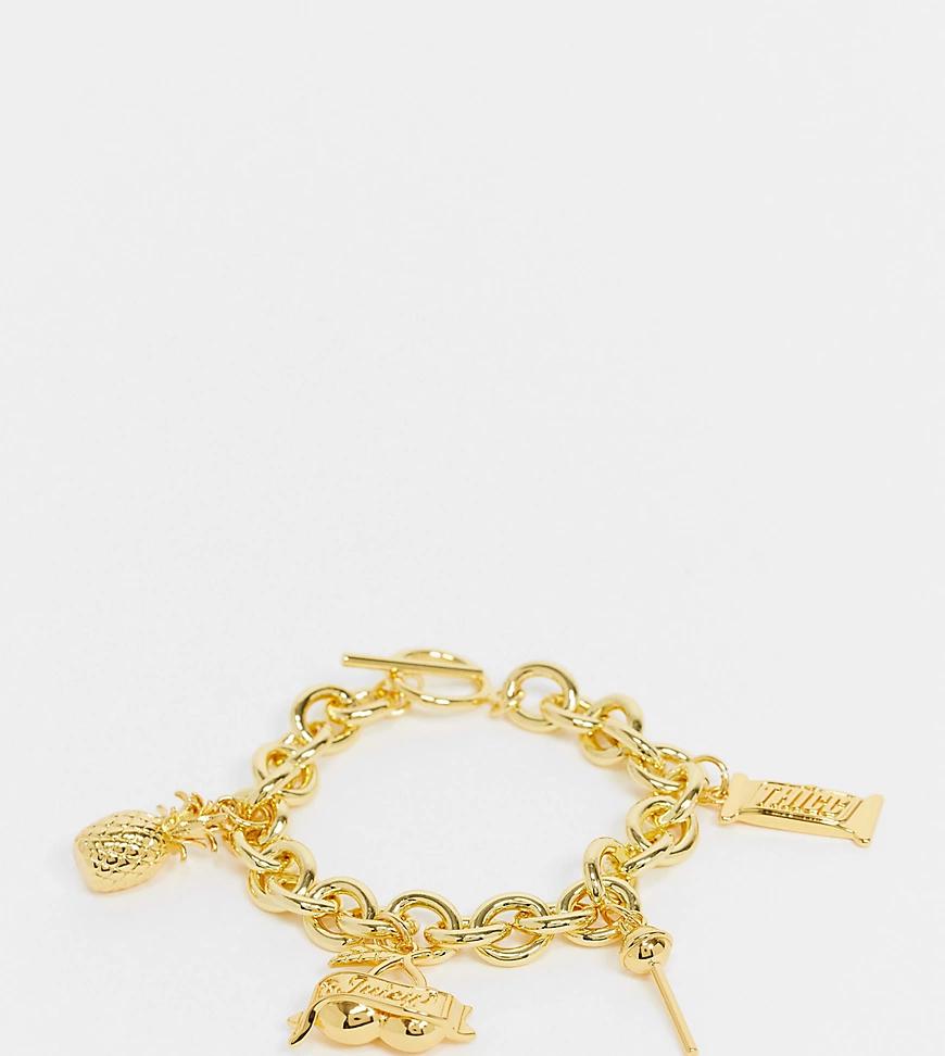 Image Gang | Позолоченный браслет сподвесками и крупными звеньями Image Gапg-Золотистый | Clouty