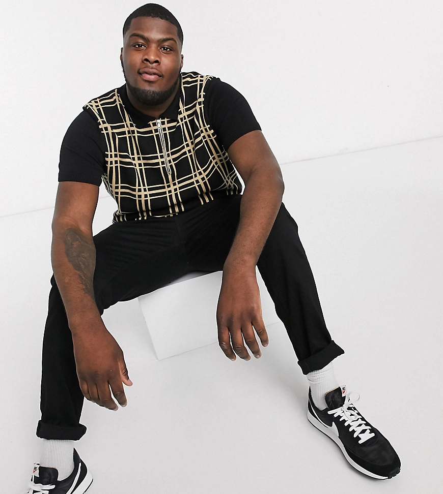 New Look | Поло черного цвета в клетку New Look Рlиs-Черный | Clouty