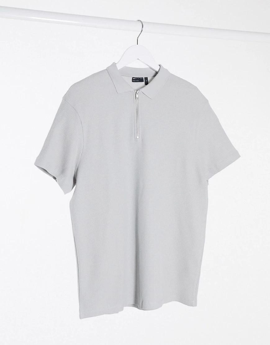 ASOS DESIGN | Поло из вафельного трикотажа серого цвета с короткими рукавами и молнией ASOS DESIGN-Cepый | Clouty