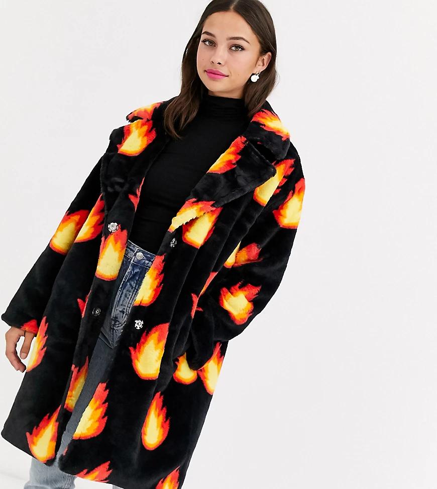 Daisy Street | Пальто из искусственного меха с принтом Daisy Street-Черный | Clouty