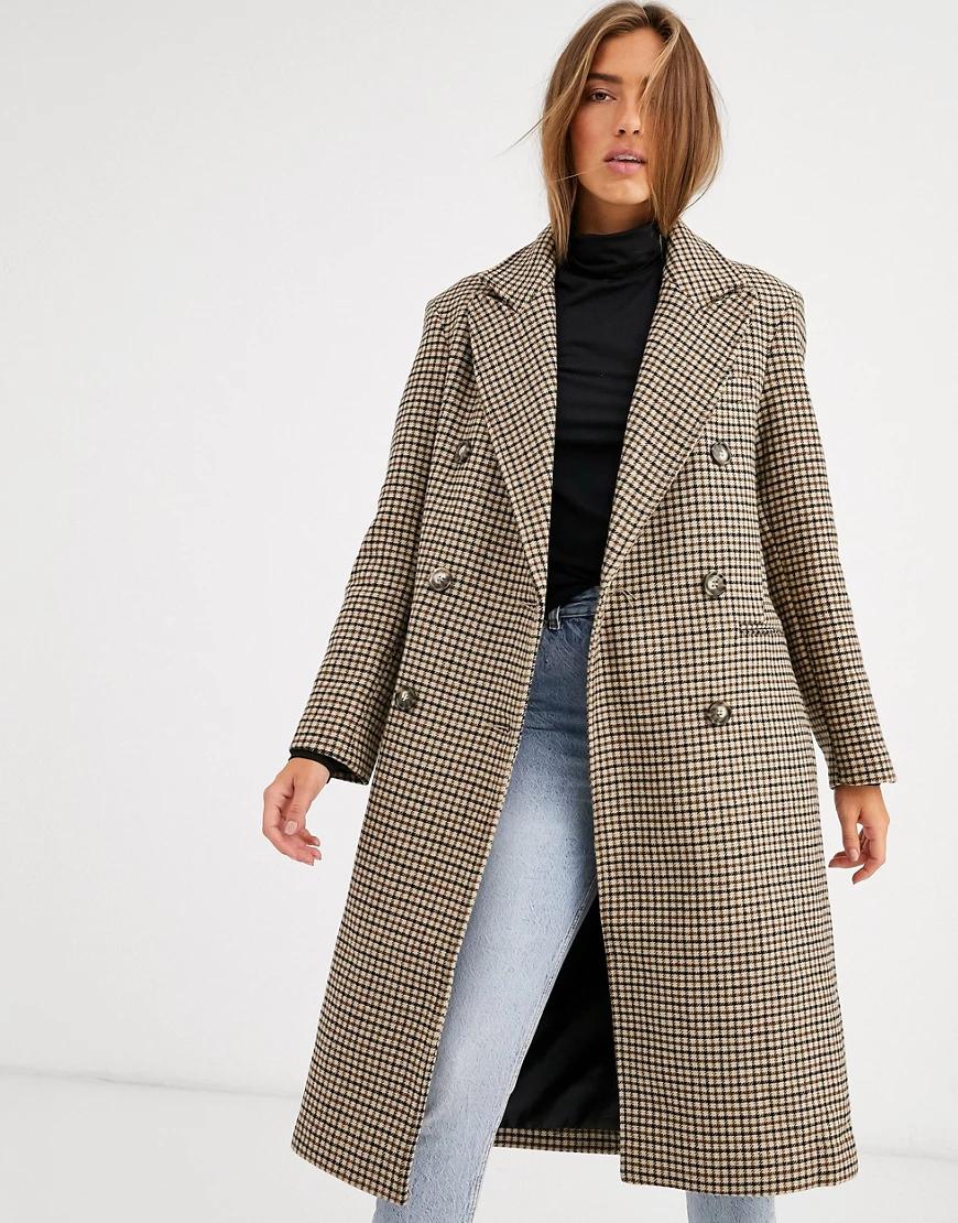 ASOS DESIGN   Пальто в клетку ASOS DESIGN-Мульти   Clouty