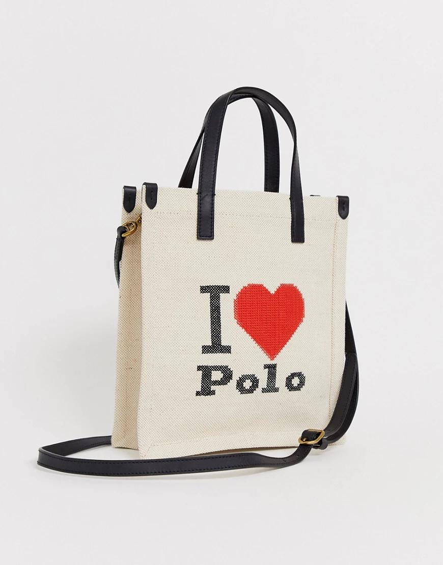 POLO RALPH LAUREN | Парусиновая сумка с логотипом Polo Ralph Lauren I heart роlо-Бежевый | Clouty