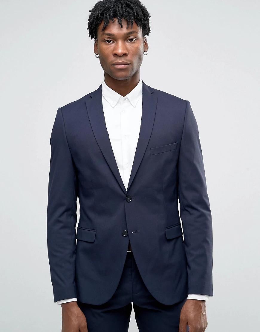 Selected Homme | Пиджак узкого кроя из эластичной ткани Selected Ноmmе-Темно-синий | Clouty