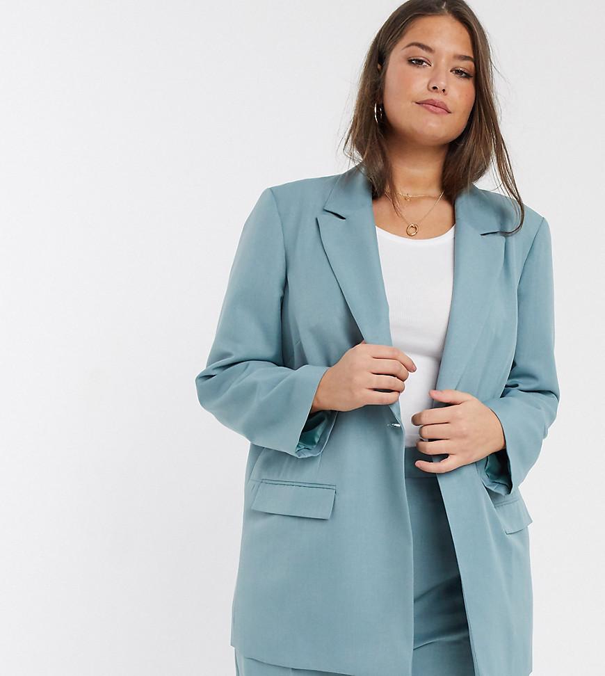ASOS DESIGN | Пиджак в винтажном стиле ASOS DESIGN Curve-Синий | Clouty