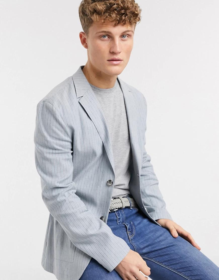 ASOS DESIGN | Пиджак облегающего кроя из ткани с добавлением льна голубого цвета в полоску ASOS DЕSIGN-Голубой | Clouty