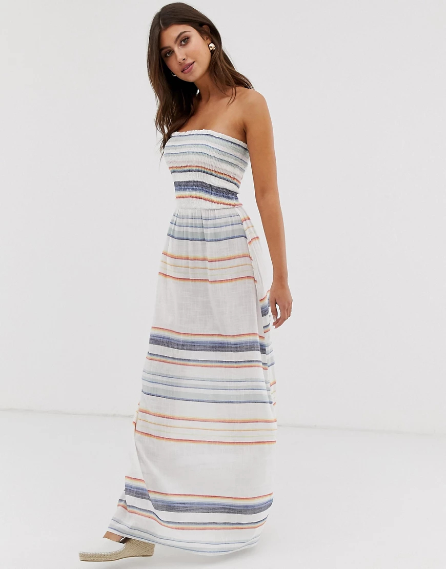 Influence | Пляжное платье макси в полоску Influence-Бeлый | Clouty