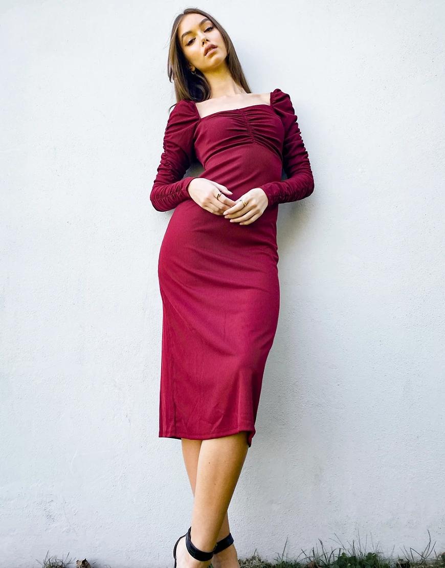 TOPSHOP | Платье бордового цвета с длинными рукавами, присборенное на талии Topshop-Красный | Clouty