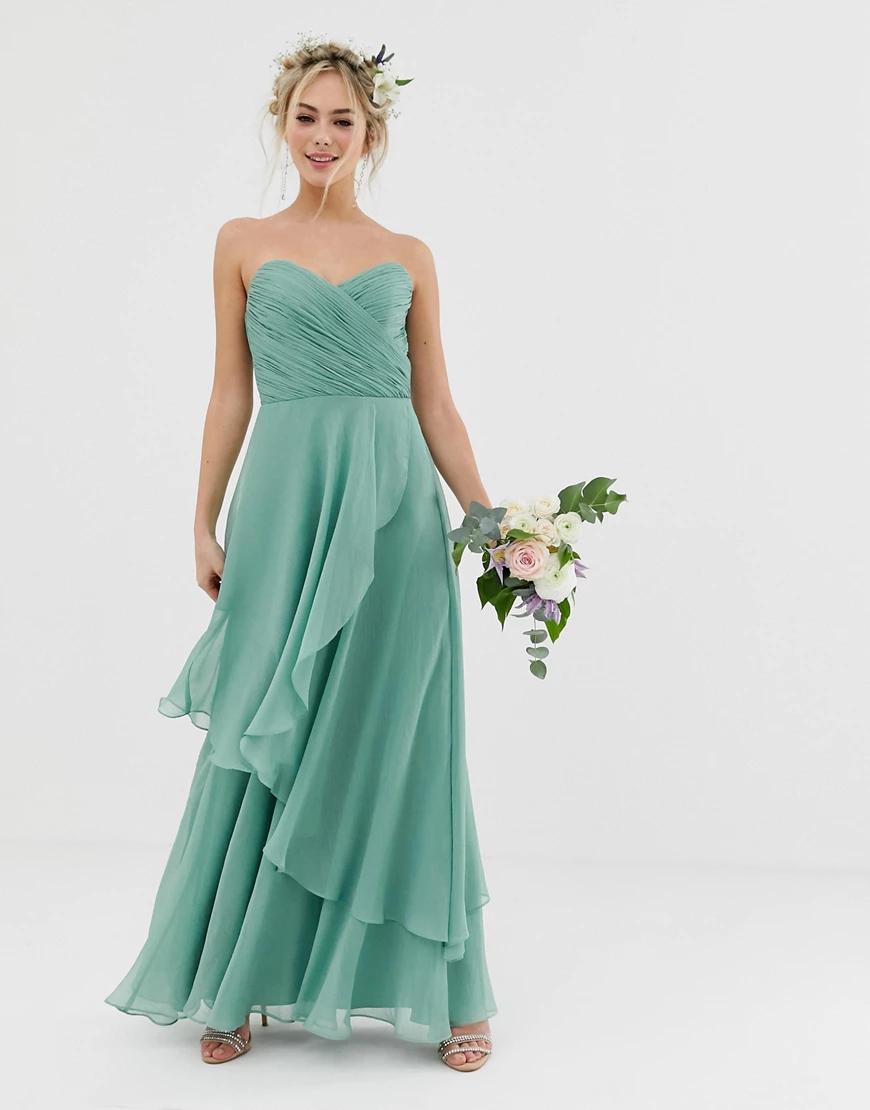 ASOS DESIGN   Платье-бандо макси с мягкой юбкой ASOS DЕSIGN-Зеленый   Clouty