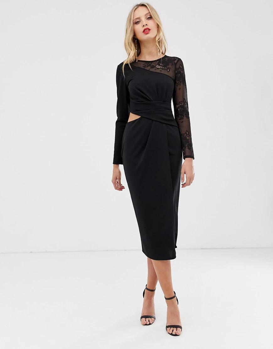 ASOS DESIGN | Платье-футляр миди с вырезами и кружевными вставками ASOS DESIGN-Черный цвет | Clouty
