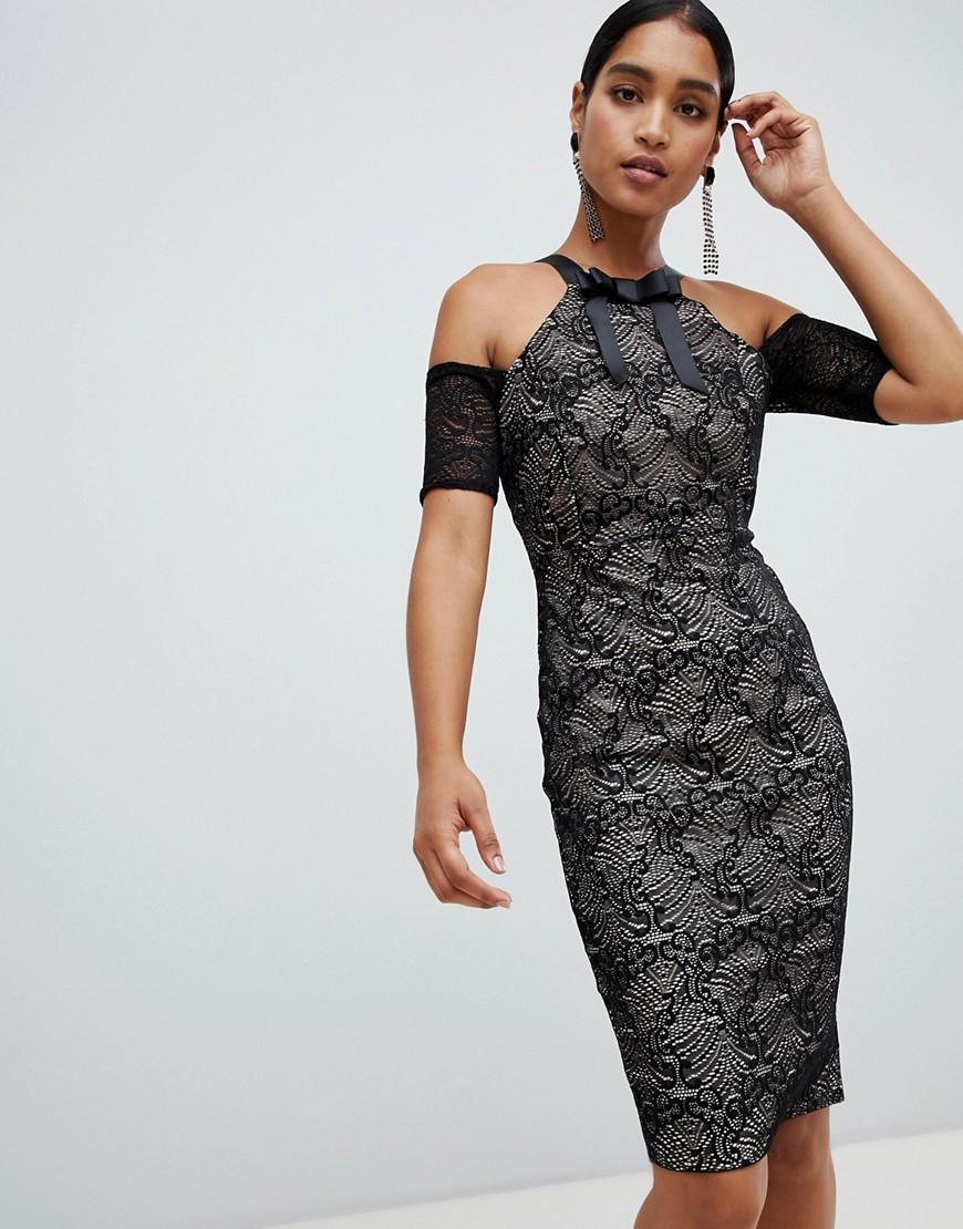 Vesper | Платье-футляр миди с вырезами на плечах Vesper-Черный | Clouty
