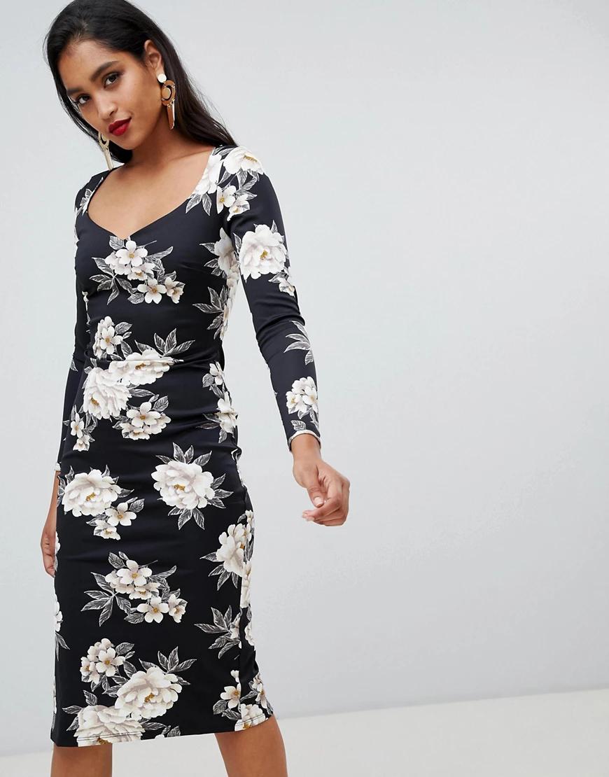 ASOS DESIGN | Платье-футляр миди с вырезом сердечком и цветочным принтом АSОS-Мульти | Clouty