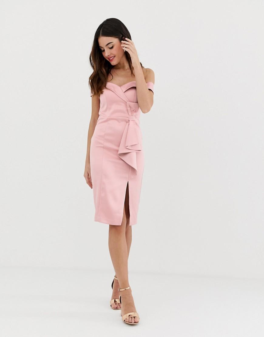 City Goddess | Платье-футляр с открытыми плечами и разрезом City Goddess-Розовый | Clouty