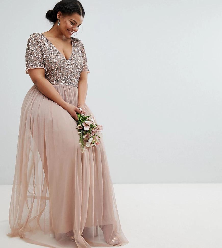 Maya | Платье макси для подружки невесты из тюля с V-образным вырезом и однотонными пайетками Maya Рlиs-Коричневый | Clouty