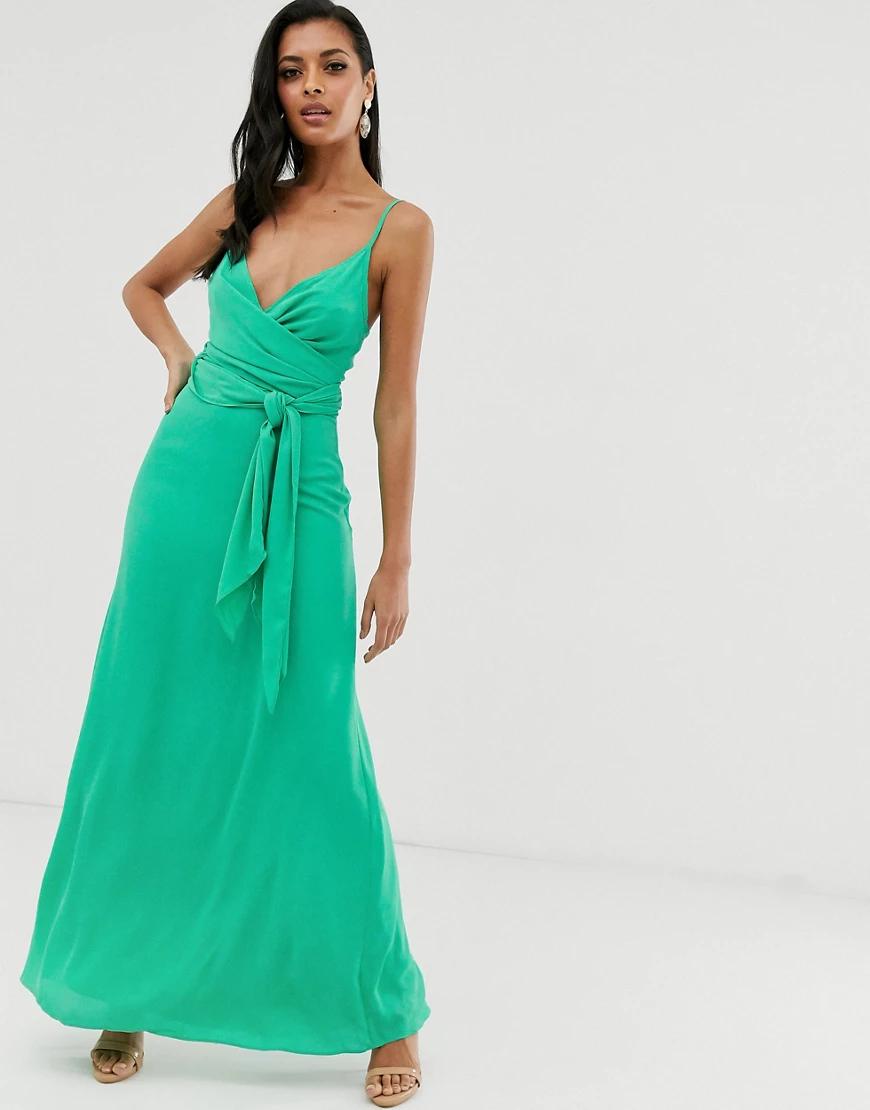 ASOS | Платье макси на бретельках и с поясом ASOS DЕSIGN-Зеленый | Clouty