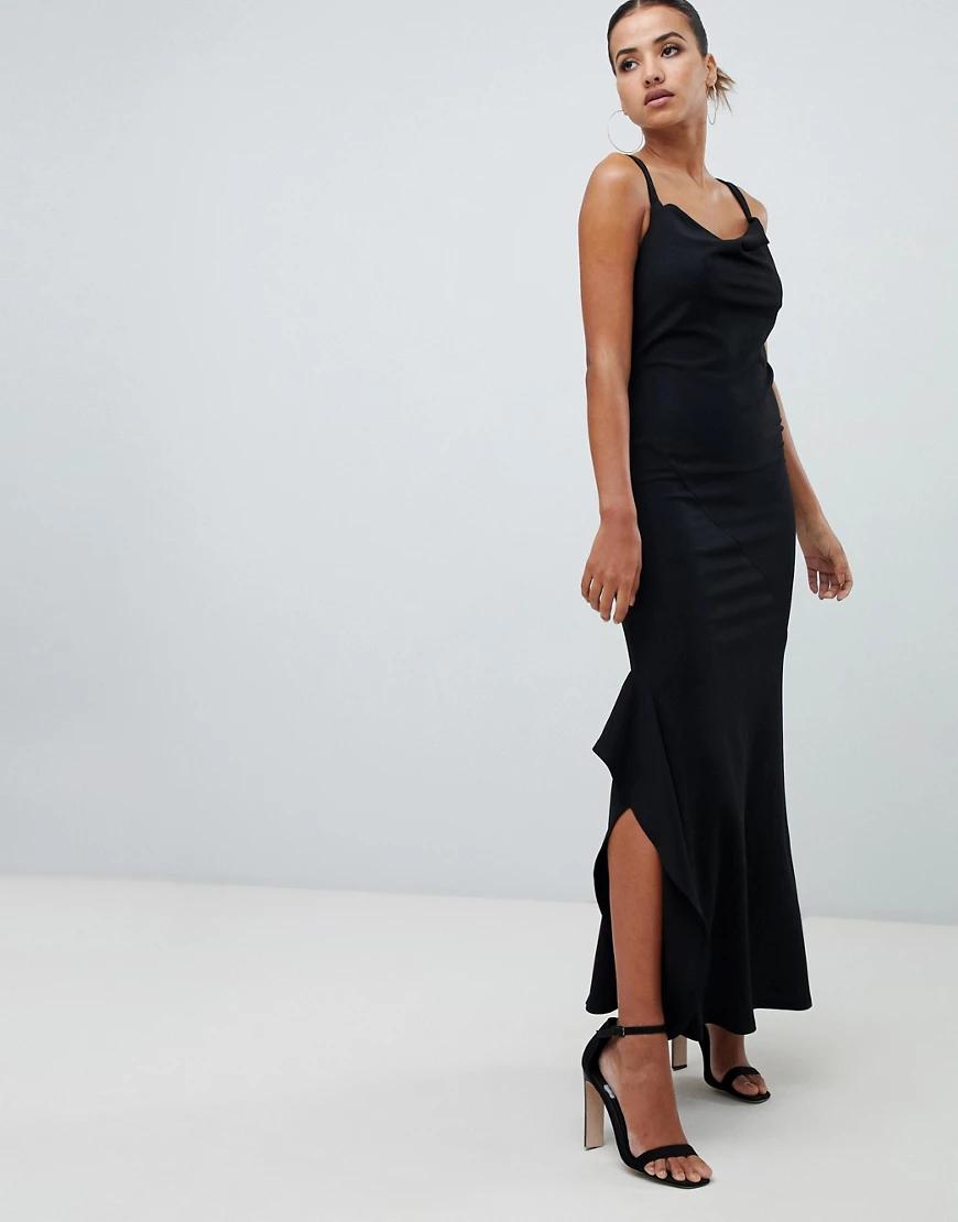 Ax Paris | Платье макси со свободным воротом AX Раris-Черный | Clouty