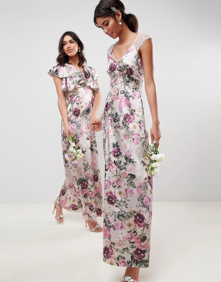 ASOS DESIGN   Платье макси с цветочным принтом и кружевными вставками ASOS DESIGN-Мульти   Clouty