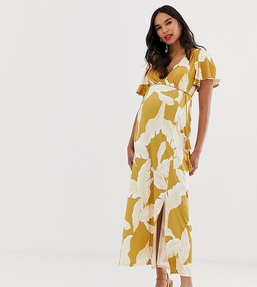 ASOS DESIGN   Платье макси с цветочным принтом и расклешенными рукавами ASOS DESIGN Maternity-Myльтu   Clouty