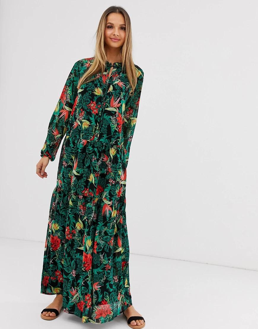 Vila   Платье макси с тропическим принтом Vilа-Мульти   Clouty