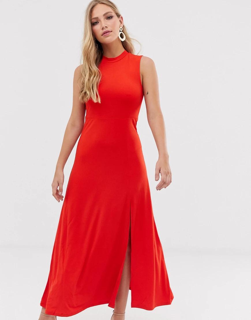 Y.A.S. | Платье макси с высоким воротом Y.А.S-Красный | Clouty