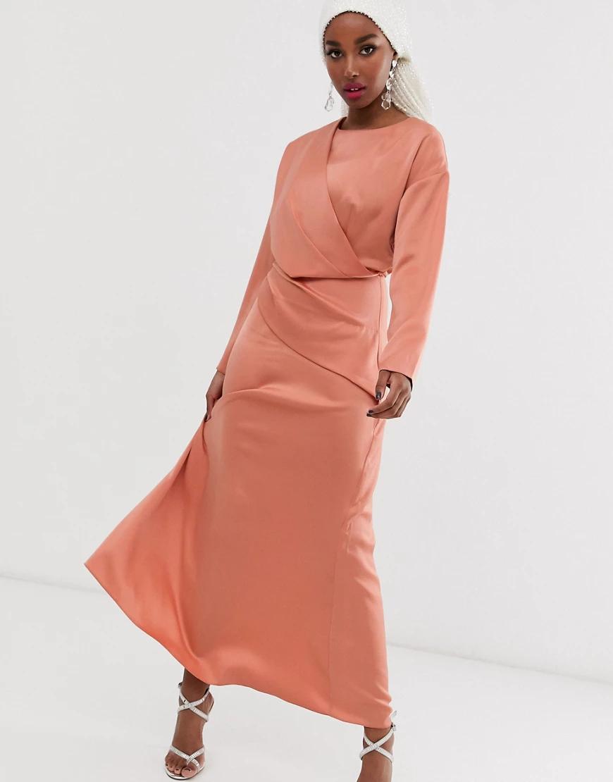 ASOS | Платье макси с запахом ASOS DЕSIGN-Оранжевый | Clouty