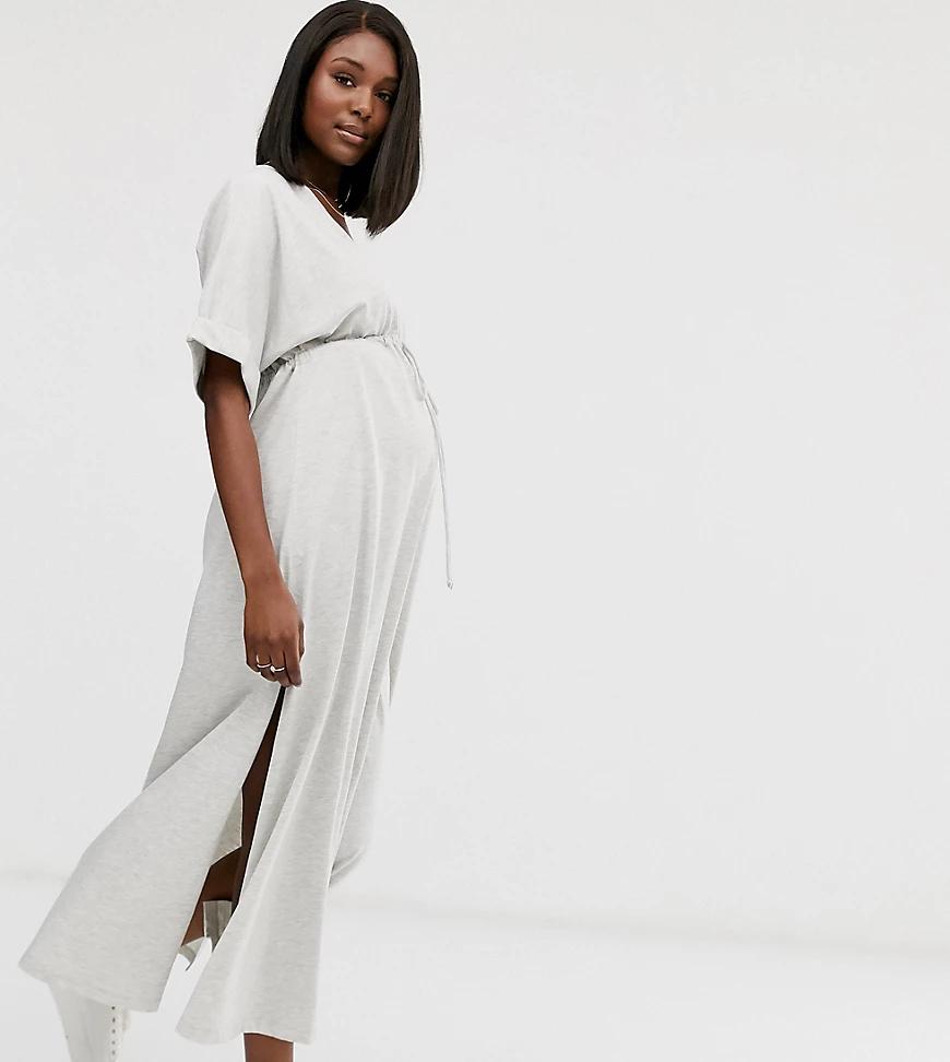 ASOS | Платье макси с затягивающимся шнурком на талии ASOS DESIGN Maternity-Чepный | Clouty