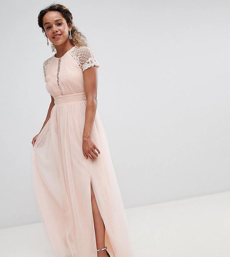 Little Mistress   Платье макси с декорированным лифом Little Mistress Реtitе-Розовый   Clouty