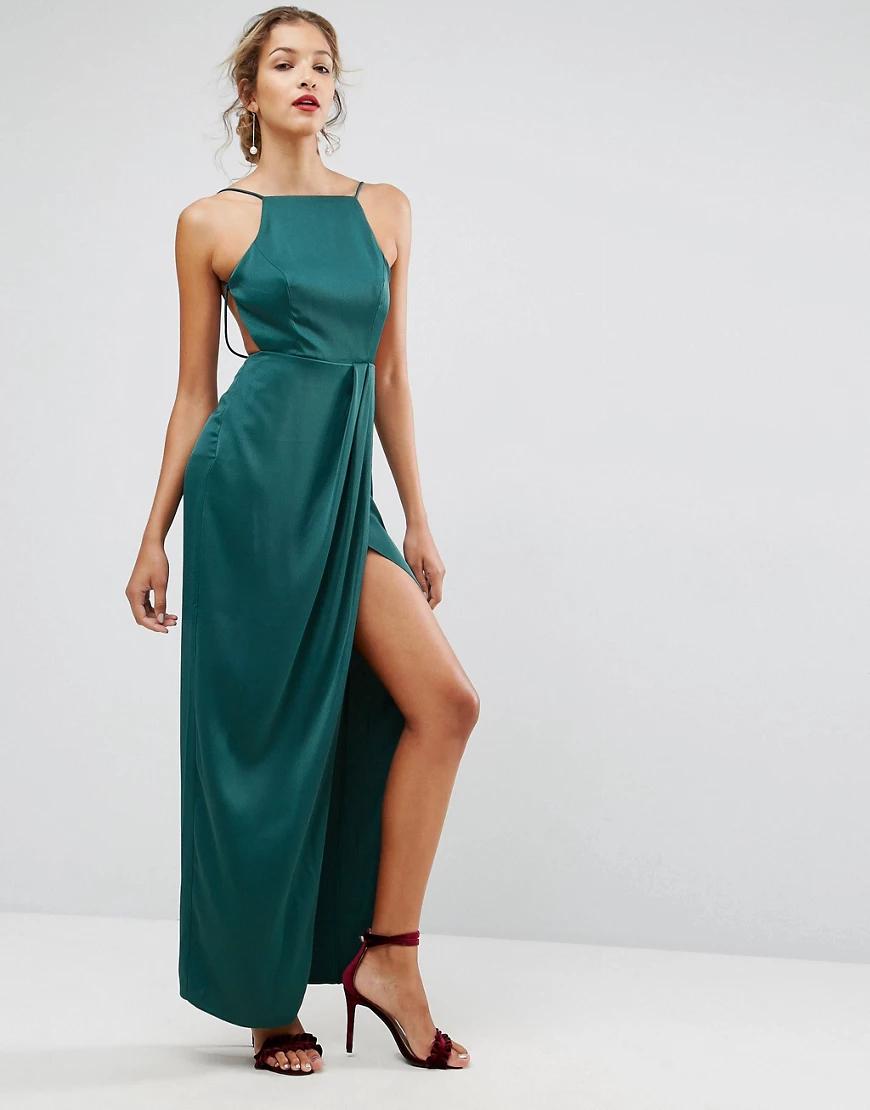 ASOS | Платье макси с драпировкой АSОS-Зеленый | Clouty