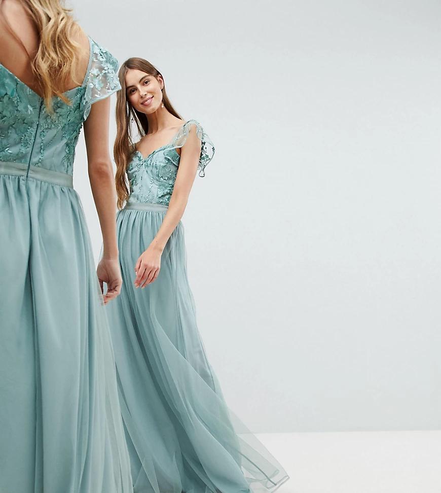 Amelia Rose  | Платье макси с оборками на рукавах Amelia Rose Таll-Зеленый | Clouty