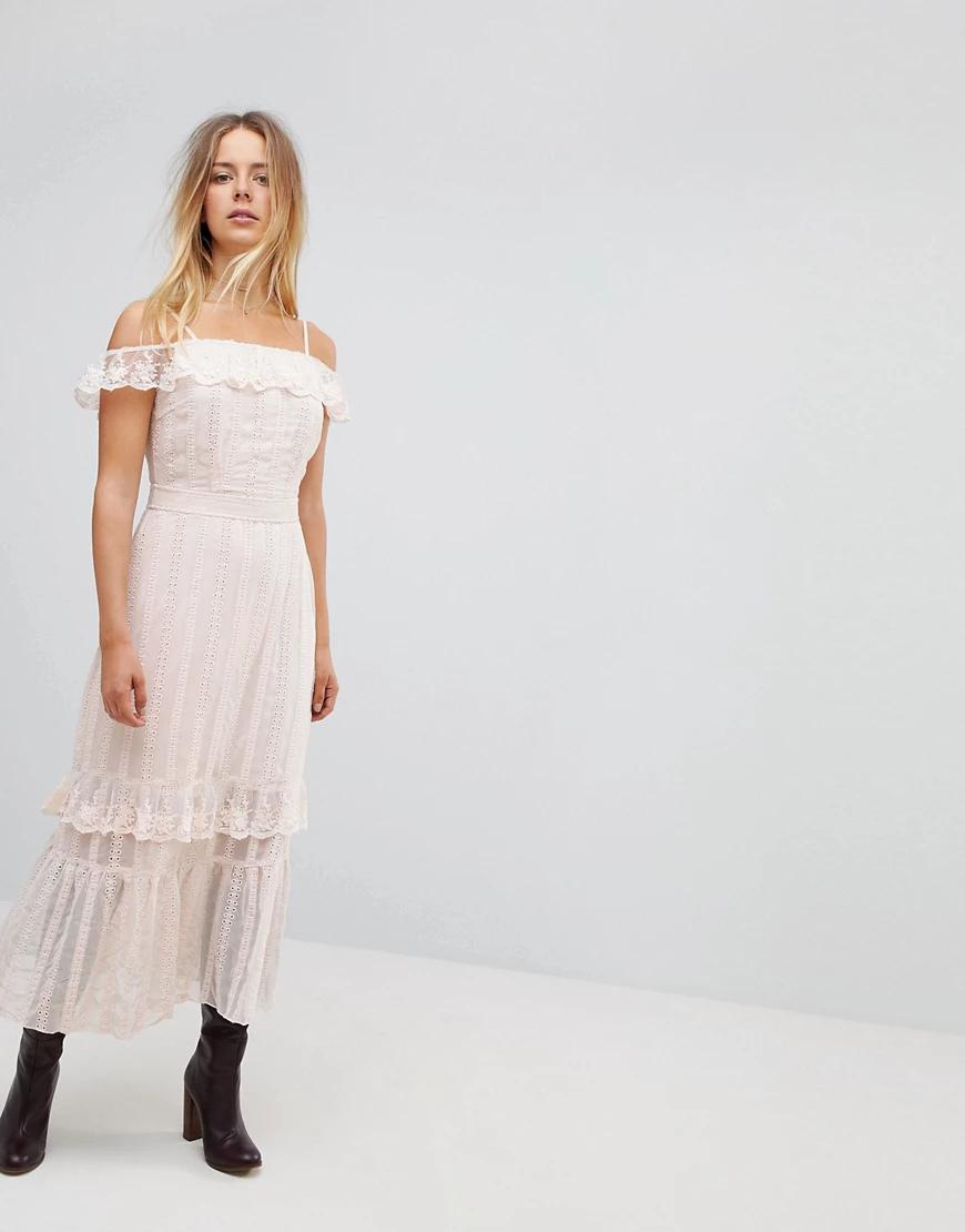 VERO MODA | Платье макси с отделкой Vero Моdа-Кремовый | Clouty