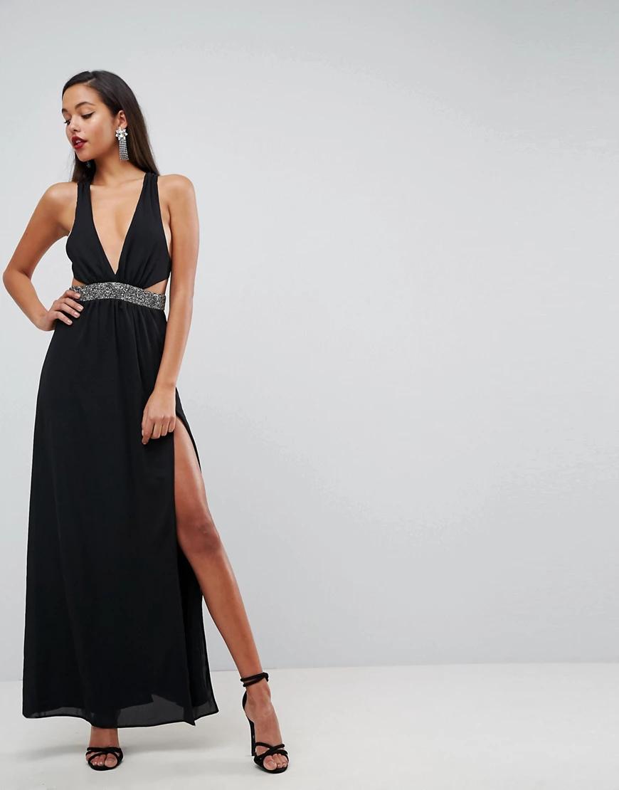 ASOS | Платье макси с отделкой на талии АSОS-Черный | Clouty